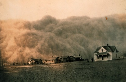 Picture, dust bowl, midwest, 1930s, dust, houses, Great Plains