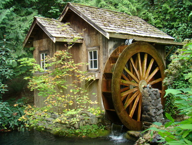 waterwheel, forest, shack, wheel, cottage, stone, mill